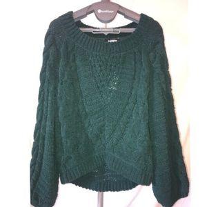 Express Hunter Green Bell Sleeve Sweater